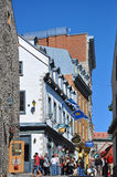 Colorful Houses on Rue Notre Dame, Quebec City Stock Images