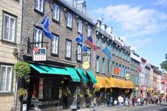 Colorful Houses on Rue Saint Louis, Quebec City Royalty Free Stock Images