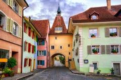 Colorful houses in Saint Ursanne, Jura, Switzerland Stock Photo