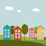 Colorful Houses For Sale / Rent. Real Estate Concept Royalty Free Stock Photo