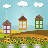 Colorful Houses For Sale / Rent. Real Estate. Gifts. Dream House Concept stock illustration