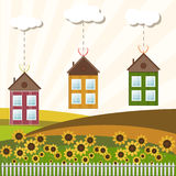 Colorful Houses For Sale / Rent. Real Estate. Houses For Sale / Rent. Real Estate. Idyllic Scene With Sunflowers, Colorful Hills And White Fence stock illustration