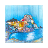 Colorful houses and sea in Manarola, Ligury, Italy Royalty Free Stock Image