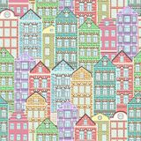 Colorful houses seamless pattern, city background, urban landscape. Multicolored bright European brick house, flat drawing,. Architecture ornament, vector stock illustration