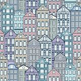 Colorful houses seamless pattern, city background, urban landscape. Multicolored pastel European brick house, flat drawing,. Architecture ornament, vector royalty free illustration