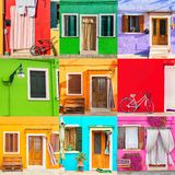 Colorful houses set in Burano island near Venice, Italy. Venice postcard. Famous attraction place for european tourism and travel.  royalty free stock photography