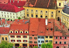 Colorful houses of Sibiu city centre Stock Photography