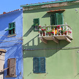 Colorful houses in the small harbor of Giglio Island Royalty Free Stock Photo