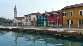 Colorful houses on the small island Mazzorbo, Italy. Venetian lagoon stock footage