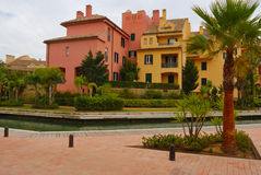 Colorful houses in Sotogrande port Royalty Free Stock Images