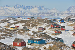 Colorful houses in spring time. In Greenland Stock Images