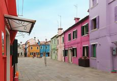 Colorful houses square Burano island Royalty Free Stock Images