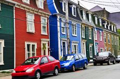 Colorful houses in St. John's Stock Images
