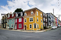 Colorful houses in St. John's. Colorful houses on street corner in St. John's, Newfoundland, Canada Stock Image