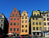 Colorful houses in Stockholm Stock Photography