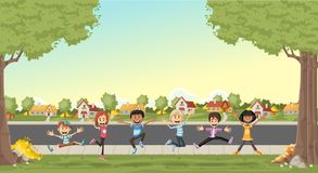 Cute cartoon kids jumping. Colorful houses in suburb neighborhood with cute cartoon kids jumping Royalty Free Stock Photo