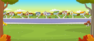 Colorful houses in suburb neighborhood. Green park landscape with grass, trees, flowers and clouds Stock Illustration