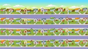 Colorful houses in suburb neighborhood. Stock Photo