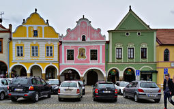 Colorful houses of Telc, Czech Republic. Colorful historical houses of Telc, Czech Republic Stock Photo