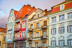 Colorful houses in Timisoara at sunset Royalty Free Stock Photography