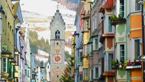 Colorful houses tower Vipiteno Trentino Alto Adige South Tyrol dolomite village. Colorful houses and tower of Vipiteno in Trentino Alto Adige South Tyrol stock footage