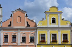 Colorful houses in town Telc,Czech republic. UNESCO protected town Royalty Free Stock Photo