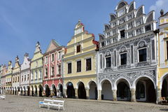 Colorful houses in town Telc,Czech republic. UNESCO protected town Stock Images