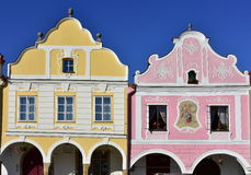 Colorful houses in town Telc,Czech republic Royalty Free Stock Images