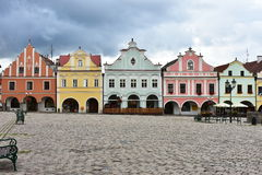 Colorful houses in town Telc,Czech republic. UNESCO protected town Stock Photo