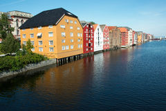 Colorful houses in Trondheim Stock Images