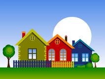 Colorful Houses. Vector illustration of home. Stylized Colorful Houses. Country Cottage Stock Illustration