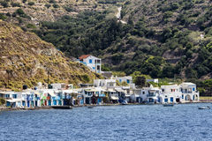 Colorful houses in the Village of Klima. Milos Island, Greece. royalty free stock image