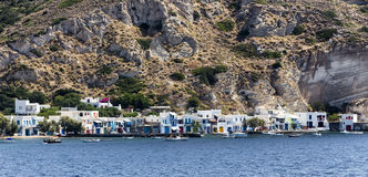 Colorful houses in the Village of Klima. Milos Island, Greece. Royalty Free Stock Photos