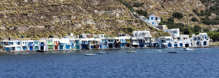 Colorful houses in the Village of Klima. Milos Island, Greece. Royalty Free Stock Images