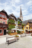 Colorful houses village marketplace square in Hallstatt Royalty Free Stock Photo