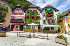 Colorful houses village square in Hallstatt Royalty Free Stock Photos