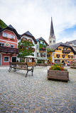 Colorful houses village square in Hallstatt Stock Images