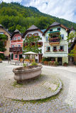 Colorful houses village square in Hallstatt Royalty Free Stock Images