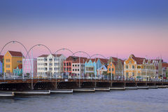 Colorful houses of Willemstad, Curaçao with bridge Stock Image
