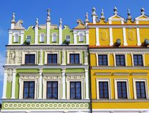 Colorful houses in Zamosc Royalty Free Stock Photography
