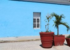 Colorful housing in colonial Cienfuegos, Cuba royalty free stock photo