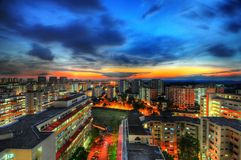 Colorful housing estate at twilight Royalty Free Stock Photos