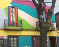Colorful housing in La Boca, Argentina. Colorful two store building in in La Boca neighborhood, Buenos Aires, Argentina. Entertainment districts in Argentina stock image