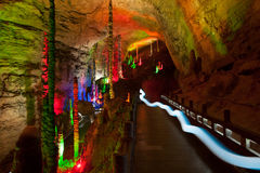 Colorful of Huanglong cave in China. Royalty Free Stock Images