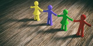 Colorful human figures holding hands on wooden background, copy space. 3d illustration. Team, friendship concept. Four colorful human figures holding hands on Royalty Free Stock Images