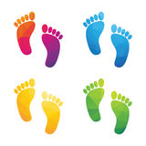 Colorful human footprints Royalty Free Stock Photo