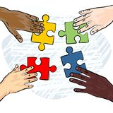 Colorful human hands holding pieces of puzzle Royalty Free Stock Photos