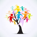 Tree with people. Colorful human silhouettes which grow on a tree Royalty Free Stock Photography