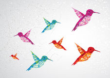 Colorful humming birds illustration. Stock Image