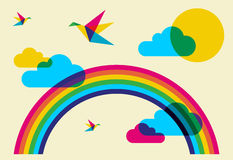 Colorful humming birds and rainbow Stock Image